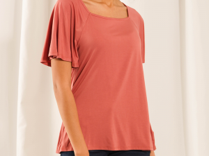 LNBF Leanne Square Neck Top- Dusty Rose
