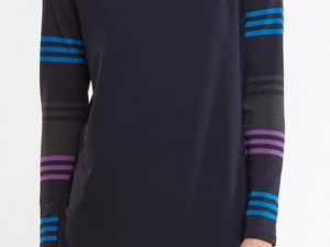 Miik Reagan striped sleeved cowl tunic
